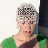 Queen of Sheba-Flapper Hat-Beaded-Flapper-Adornement-Beads-Egyptian-Costume-Theater-Pretty Beads-Great Gatsby