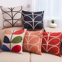 Simple Design Stylish Leaf Cotton Linen Environmental Soft Cushion [6283493574]