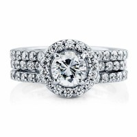 Sterling Silver 925 CZ Round Halo Engagement Ring Wedding Bridal Band Set 5-10