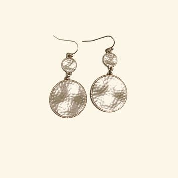 Double Disc Hammered Matte Gold Earrings