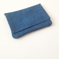 Card Case Wallet, Blue Wallet, Blue Card Case, Fabric Card Case, Card Holder, Credit Card Case