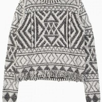 Gray Geometric Print Sweater with Fringe Hem Detail