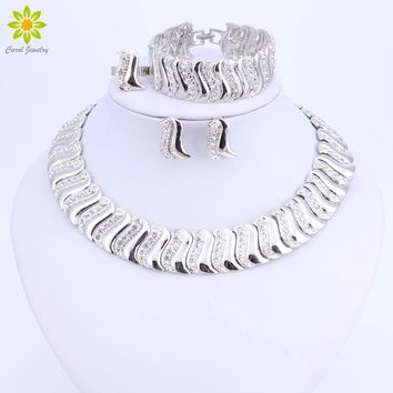 Fashion Exquisite Dubai Jewelry Set Luxury Silver Color Big Nigerian Wedding African Beads Costume Design jewelry set