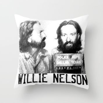 Willie Nelson Mug Shot Throw Pillow by Neon Monsters