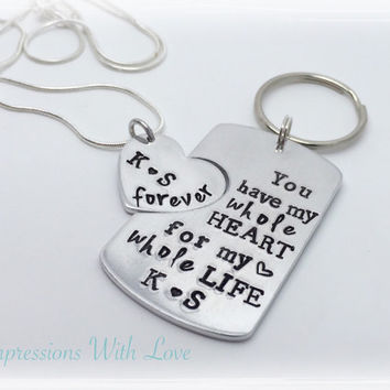 Anniversary gift idea, gift for husband /wife hand stamped necklace personalised keyring/keychain gift for girlfriend /boyfriend, valentines