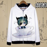 rxlzoon Animation Black Butler Kuroshitsuji  cospaly costume men  zipper coat