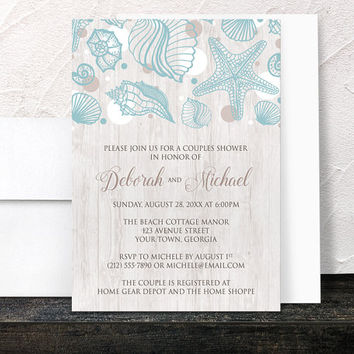 Beach Couples Invitations - Seashell Whitewashed Wood Beach Couples Shower - Modern Rustic Beach Seashells