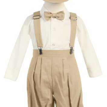 Boys Khaki Tan Linen Blend Suspender Knicker Shorts Set 3m-5