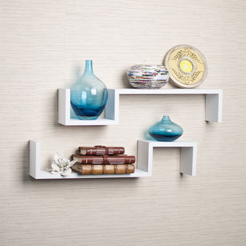 "Danya B White Laminate ""S"" Wall Mount Shelves (Set of 2)"
