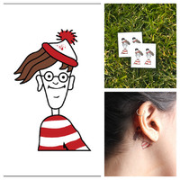 Waldo - temporary tattoo (Set of 4)