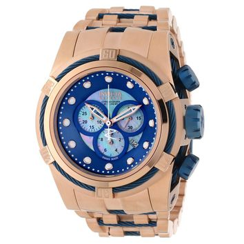 Invicta 12745 Men's Bolt Reserve Blue MOP Dial Rose Gold Steel Bracelet Watch