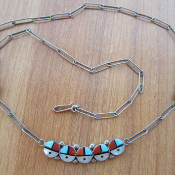Native American necklace, Zuni sun face, collectible jewelry