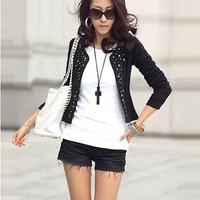 Fashion Korea Style Rivet Embellished Coat For Women China Wholesale - Everbuying.com