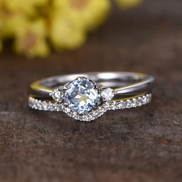 0.5 Carat Round Aquamarine Wedding Set Diamond Bridal Ring 14k White Gold Curved Half Eternity Matching Band