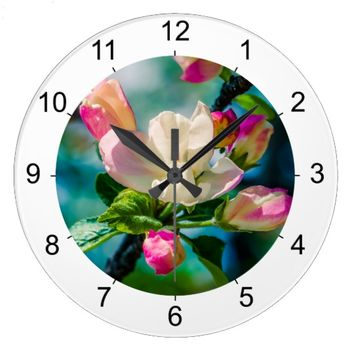 Crabapple flower and buds large clock