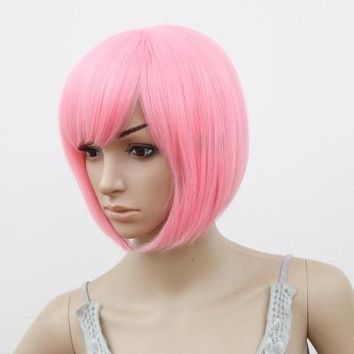 Bob Wig Oblique Fringe Bangs Short Wavy Wigs Pink Purple Blonde Red Blue Orange Synthetic Hair Heat Resistant Women Hairpiece