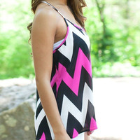 Pink, Black and White Chevron Top
