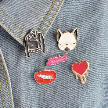 5 pcs/set Metal Enamel Brooch Bulldog Leather Jacket Clothes Heart Fabulous Sexy Lips Pins Collar Badge for Women Men Jewelry