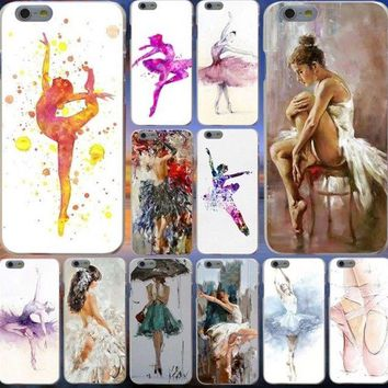 watercolor painting ballet girls Hard Cover Case for iphone 5s 6s 7 8 plus X