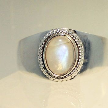 Sterling Silver Rainbow Moonstone Rings in Sizes 11-14