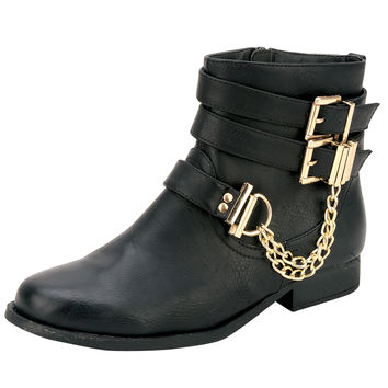 Womens Ankle Boots Gold Chain Stacked Buckles Riding Shoes Black SZ