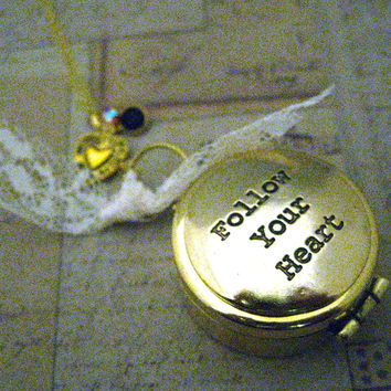 Compass Necklace Follow Your Heart with Flair Golden
