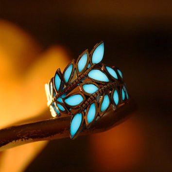 LEAVES ring GLOW in the DARK Sterling .925
