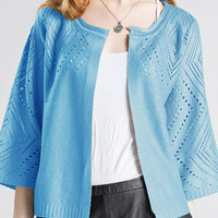 Cut Out Blue Foil Stamping Knitted Cardigan