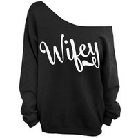 Wifey Slouchy Raw Edge Off the Shoulder Sweatshirt SM-4X, yoga clothes, workout top, boho style, bohemian clothing
