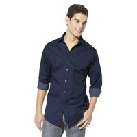Mossimo Black® Men's Slim Fit Stretch Poplin Button Down - Navy/Gray Polka Dot