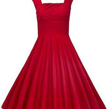 KILOLONE Women 50s Style Plus Size Swing Vintage Retro Rockabilly Sleeveless Christmas Party Tea Evening Cocktail Dress