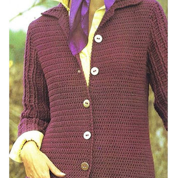 Crochet Pattern Vintage 70s CROCHET SWEATER PATTERN Crochet Jacket Pattern Crochet Cardigan Pattern Instant Download
