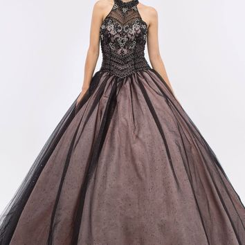 CLEARANCE - Black/Blush Embellished Bodice Close Neckline Halter Quinceanera Dress (Size 2XL)