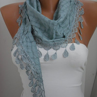 Soft Blue Shawl/Scarf - Headband - Cowl with Lace Edge SUMMER Trends