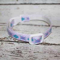 Purple & Blue Argyle Cat/Kitten Collar- Adjustable and Breakaway