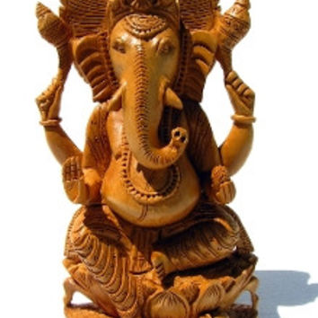 Ganesh Statue Hand Carved Wood