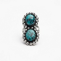 Free People Womens Double Stone Ring - Turquoise, 7