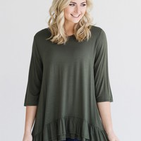 Army DLMN 3/4 Sleeve Ruffle Hem Top