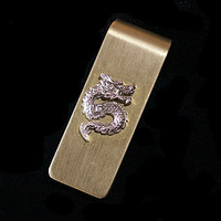 Handmade Sterling Silver Dragon Money & Card Clip, Brass Silver Money Clip, Items for Men, Father's Day, Valentine's Day, Gift