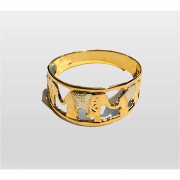2 Tones Elephant Gold Plated Ring
