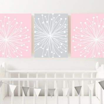 Pink Gray Nursery Wall Decor, DANDELION NURSERY ART,  Dandelion Canvas or Print Pink Gray Bedroom Picture, Pink Gray Bathroom Decor Set of 3