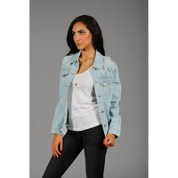Distressed Frayed Hem Denim Jacket in Light Denim