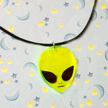 Alien Acrylic Charm Necklace, Black Cord Goth Necklace