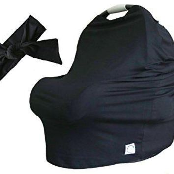 100% Organic Bamboo Nursing Cover and FREE Matching Bow - Best Multi-Use Cover for Sensitive Skin, Car Seat Canopy, and Gifting. (Solid Midnight Black)