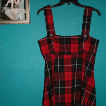 Womens Vintage 90s Grunge Red TARTAN Mini Dress/ Goth Mini dress / Punk Plaid Mini Dress/ Red PLAID Mini dress