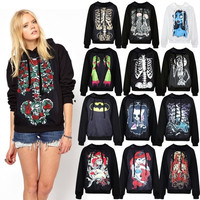 Womens Skull Punk Rock T-shirt Undead Zombie Goth Tee Tops Hoodie Pullover  Z_G = 1932504132