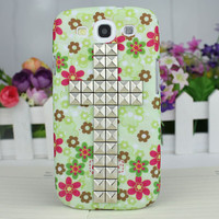 Beautiful Floret   Hard Shell And Silvery  Stud Cross  for Samsung Galaxy S3 i9300