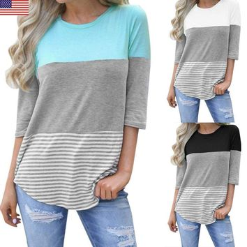 Women's Ladies Casual Loose Striped Patchwork Lace Long Sleeve Shirt Tops Blouse