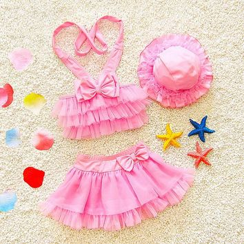 2 Two Piece Bikini Skirt Type Princess Girl Swimwear Bikini Girls Swimsuit Two Pieces W/Cap Kids Swimming Suits Baby Beach Bathing Outfits 2018 BO KO_21_2
