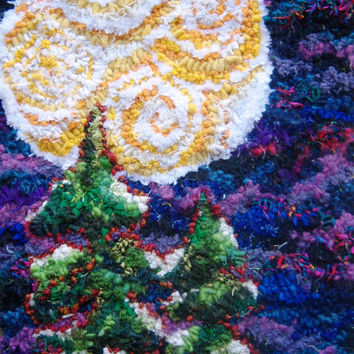 """Hand Hooked Wool Tapestry Wall Hanging, Rug Hooking, Hooked Rug, Wool Hand Hooked Rug, Modern Wall Art, """"Winter Moonlit Treetops"""""""